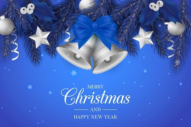 Синий фон рождество с серебряными колокольчиками