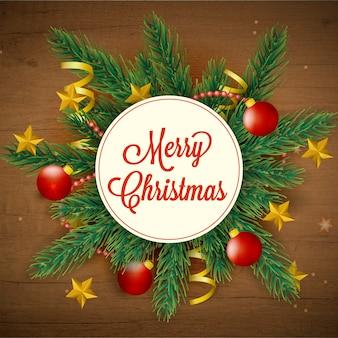Рождественский венок с сосновыми ветвями и украшением