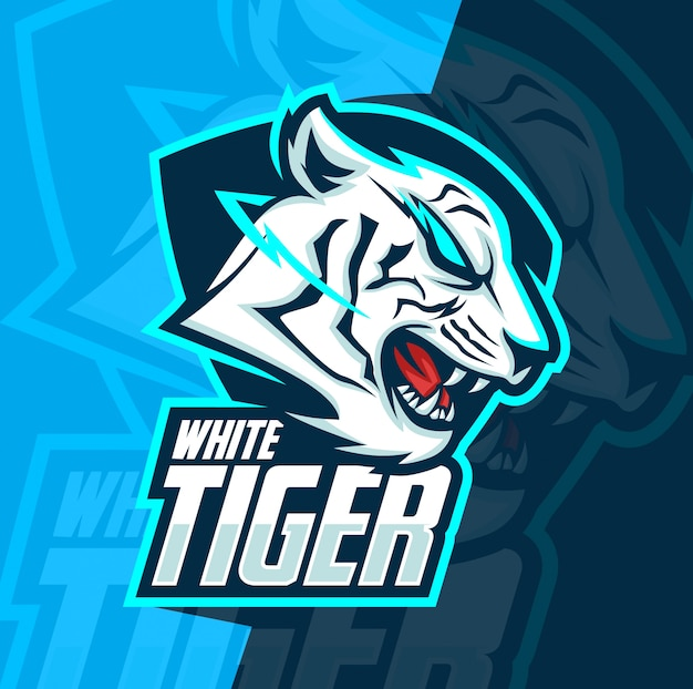 Белый тигр талисман киберспорт дизайн логотипа