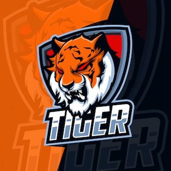 Тигр талисман киберспорт логотип