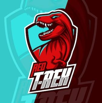 Т-рекс талисман киберспорт дизайн логотипа