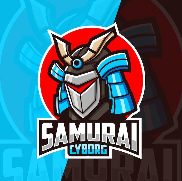 Самурай киборг талисман киберспорт дизайн логотипа