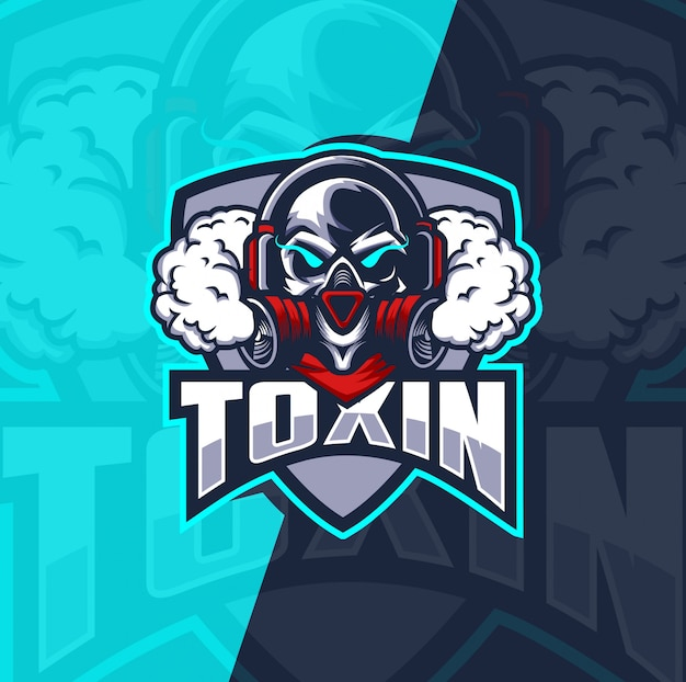 Череп с противогазом талисман кибер дизайн логотипа