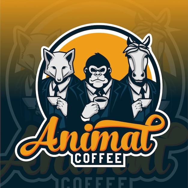 ゴリラ、キツネ、馬のキャラクターの動物コーヒーロゴデザイン