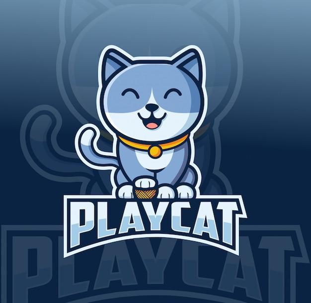 Дизайн логотипа кошачий талисман в стиле киберспорта