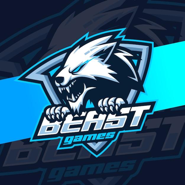Зверь волки талисман киберспорт логотип