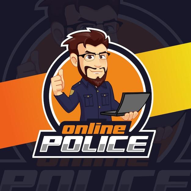 Онлайн полиция талисман дизайн логотипа