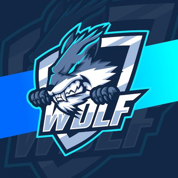 Дизайн логотипа волк талисман киберспорт