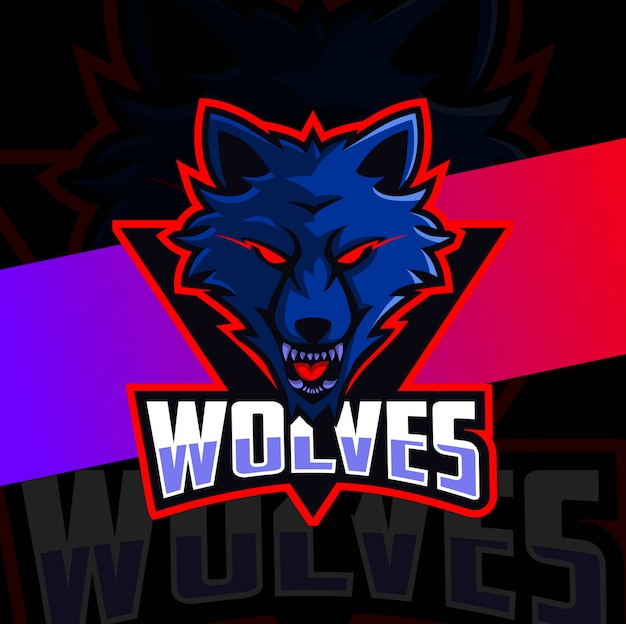 Волк талисман киберспорт дизайн логотипа