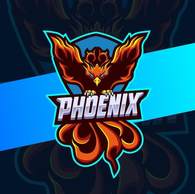 Дизайн логотипа талисман феникс киберспорт