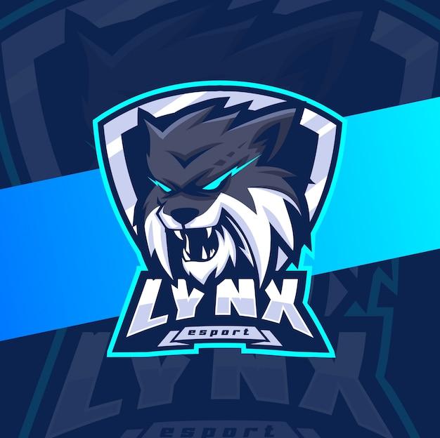 Рысь талисман киберспорт дизайн логотипа