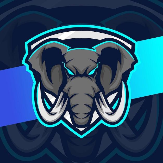 Слон талисман кибер дизайн логотипа
