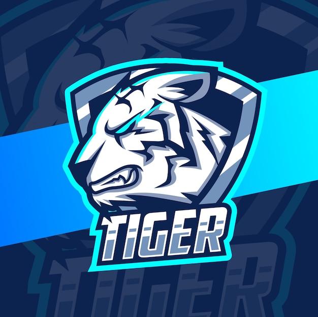 Белый тигр талисман кибер дизайн логотипа