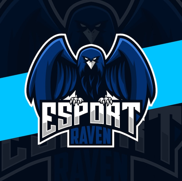 Ворон талисман кибер дизайн логотипа