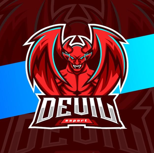 Дьявол талисман кибер дизайн логотипа