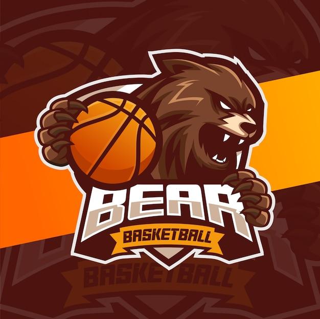 Медведь талисман баскетбол спорт дизайн логотипа