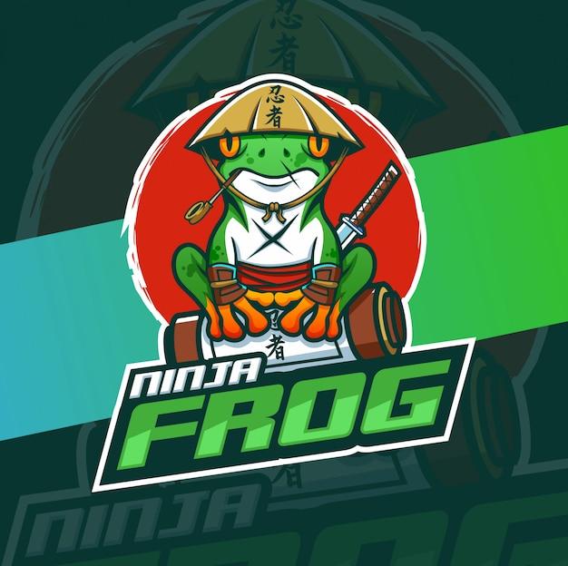 Ниндзя лягушка талисман кибер дизайн логотипа