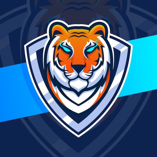 Талисман головы тигра дизайн логотипа киберспорта