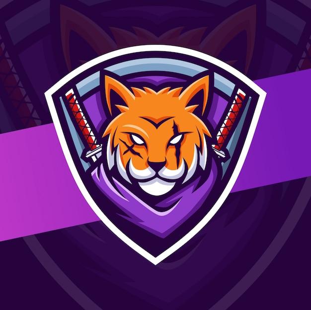 Кошка ниндзя талисман киберспорт дизайн логотипа