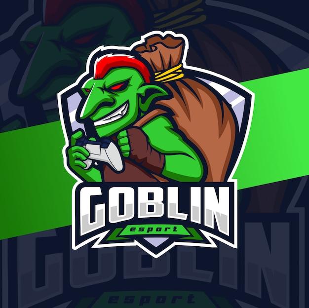 Гоблин геймер талисман киберспорт дизайн логотипа