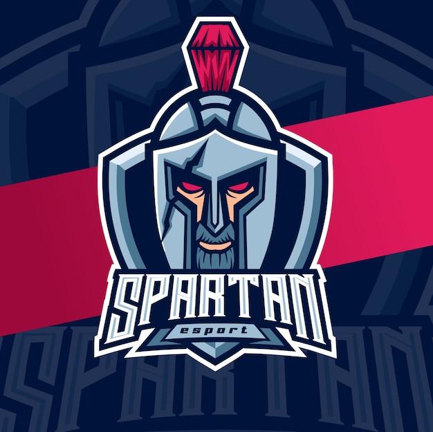 Спартанский шлем талисман кибер дизайн логотипа