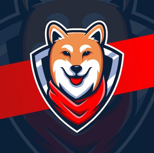 Дизайн логотипа талисмана собаки шиба японии