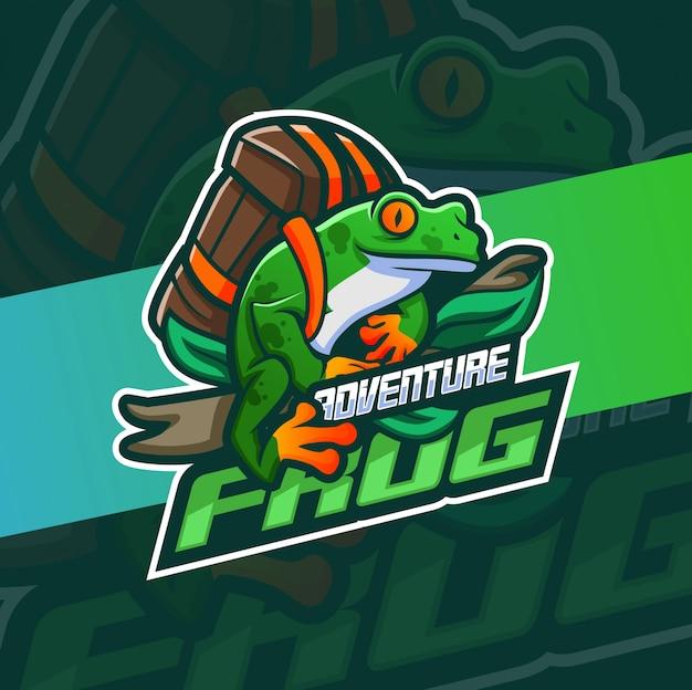 Дизайн логотипа талисмана приключения лягушки