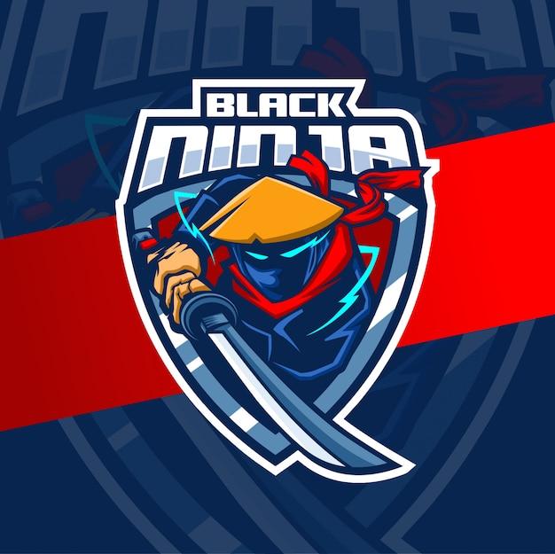 Черный ниндзя талисман кибер дизайн логотипа