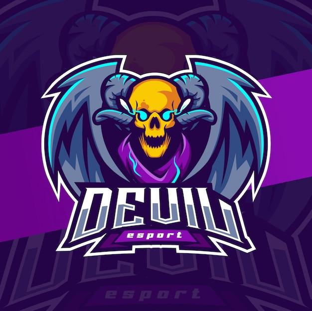 Дизайн логотипа талисмана черепа дьявола с рогом и крыльями