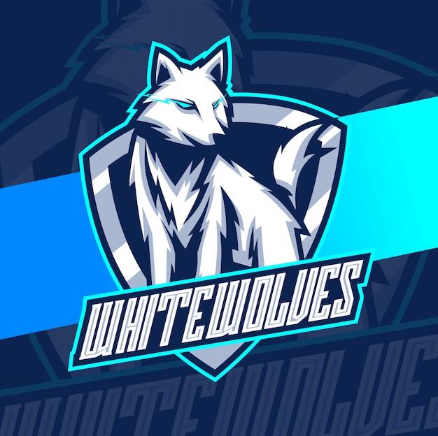 Дизайн логотипа талисмана белых волков киберспорт