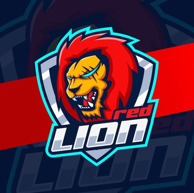 Красный лев талисман кибер дизайн логотипа