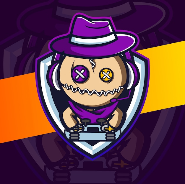 Кукла вуду геймер талисман киберспорт дизайн логотипа