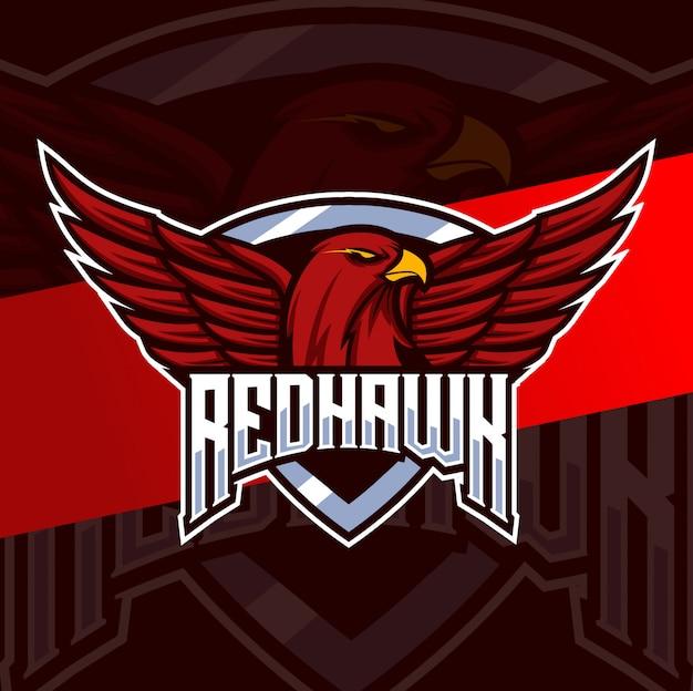 Красный ястреб талисман киберспорт дизайн логотипа