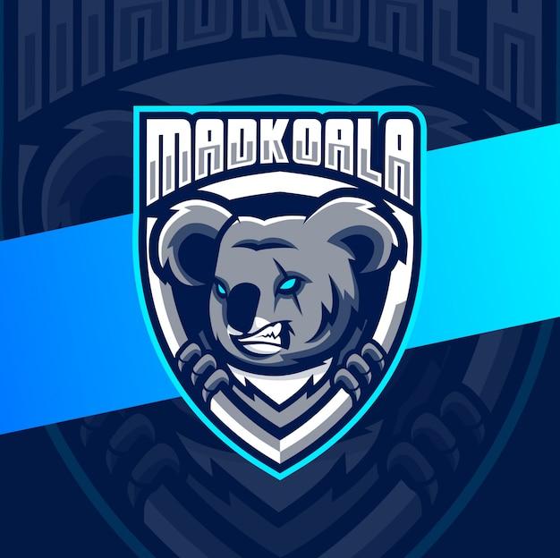 Безумный коала талисман киберспорт дизайн логотипа