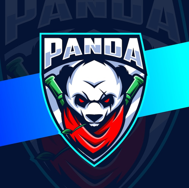 Панда воин талисман киберспорт дизайн логотипа