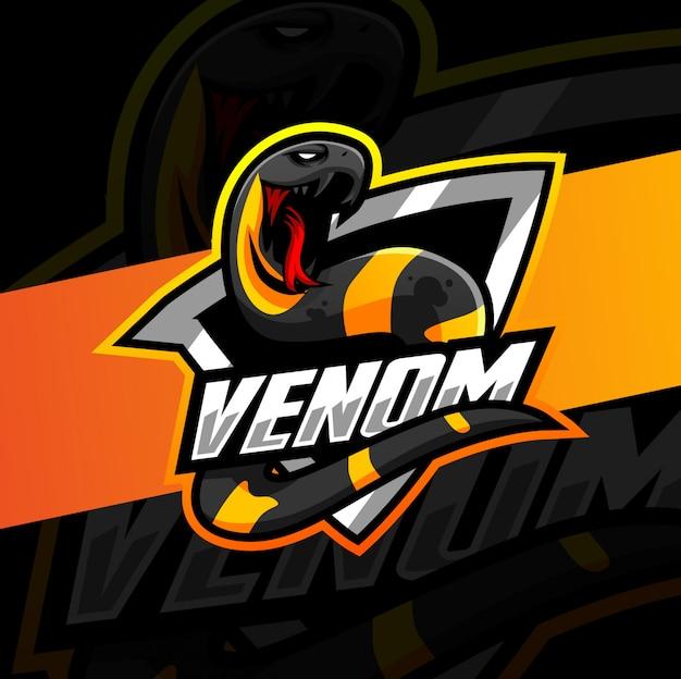 Ядовитая змея талисман киберспорт дизайн логотипа