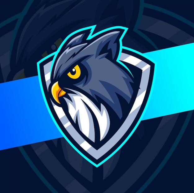 Ночная сова птица талисман кибер дизайн логотипа