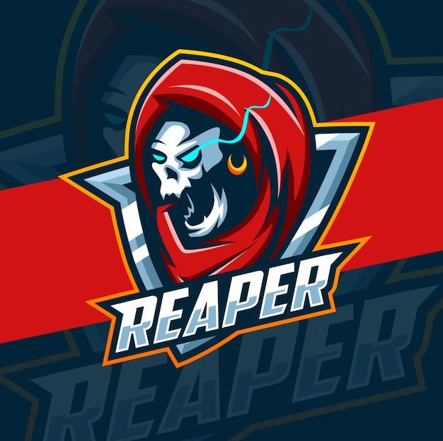 Жнец талисман кибер дизайн логотипа