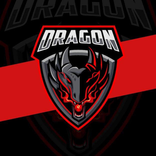Огненный талисман дракона дизайн логотипа киберспорта