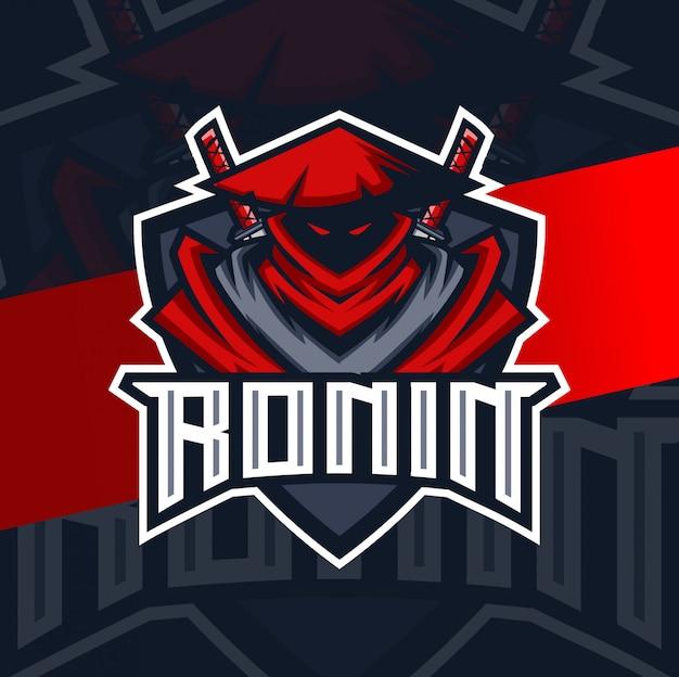Ронин ниндзя талисман киберспорт дизайн логотипа