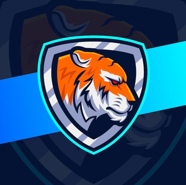 Тигр голова талисман кибер дизайн логотипа