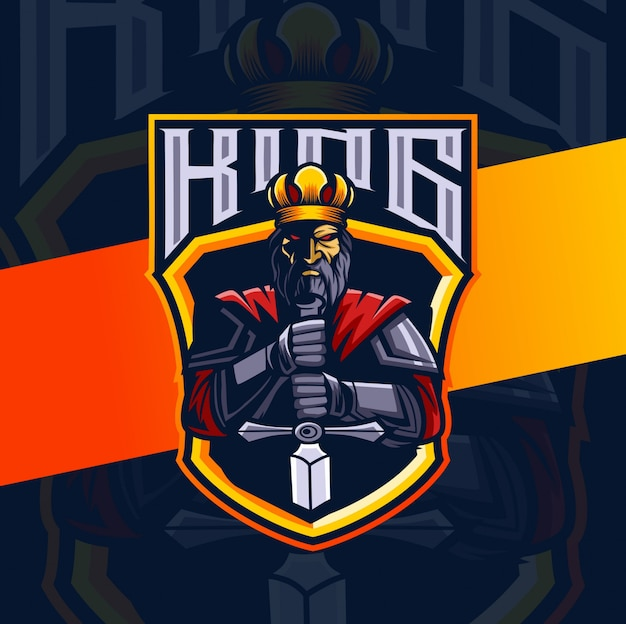 Дизайн логотипа король талисман киберспорт