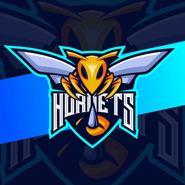 Шершень талисман эспорт дизайн логотипа