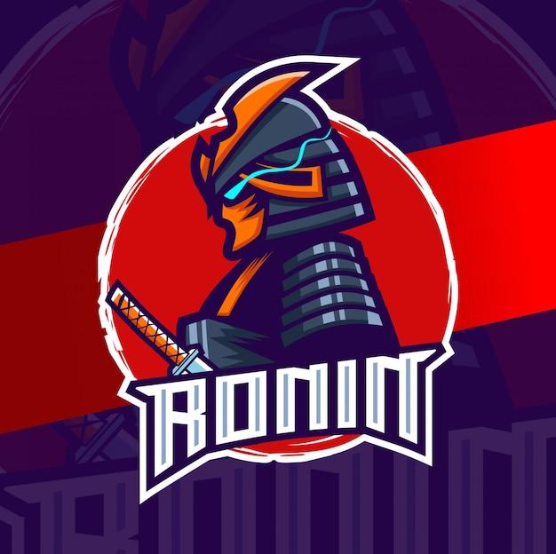 Ронин самурай талисман киберспорт дизайн логотипа персонаж