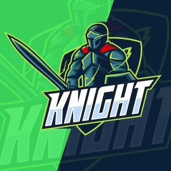 Рыцарь талисман киберспорт дизайн логотипа