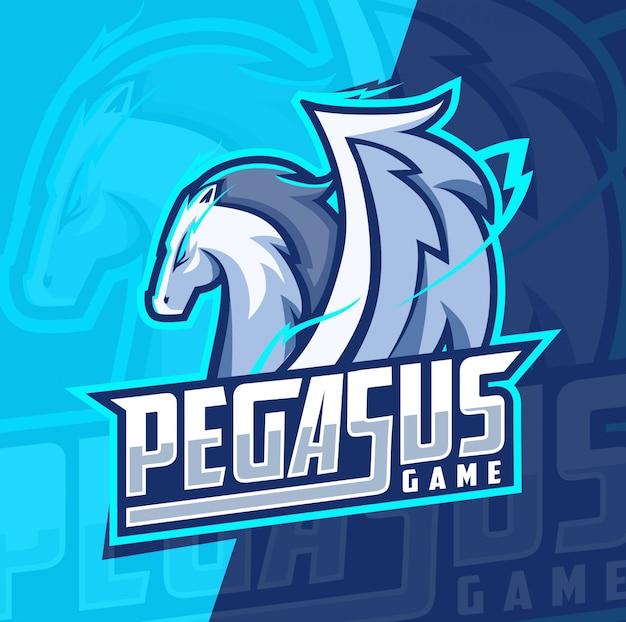 Пегас талисман киберспорт дизайн логотипа