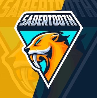 Саблезубый талисман киберспорт дизайн логотипа