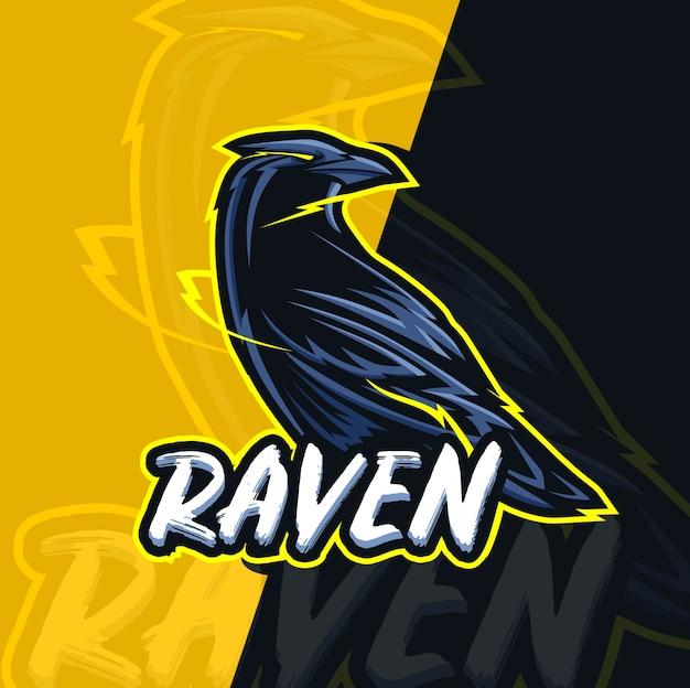 Ворон талисман киберспорт дизайн логотипа