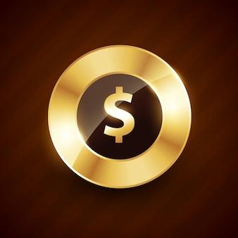 光沢のある効果を持つドラーゴールデンコイン
