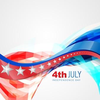 ベクトルの波のスタイルアメリカの独立日の背景